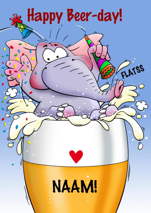 Verjaardagskaarten - Grappige verjaardagskaart olifant in glas bier