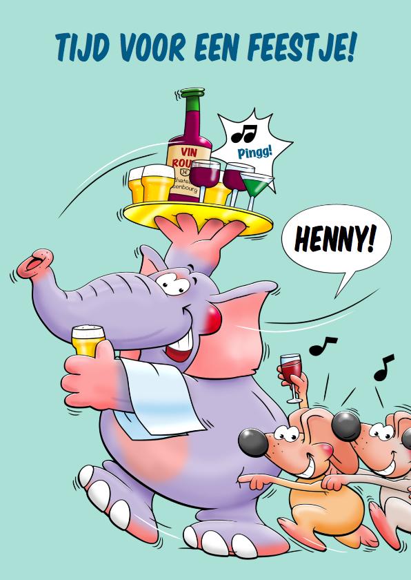 Verjaardagskaarten - Grappige verjaardagskaart olifant met blad drankjes