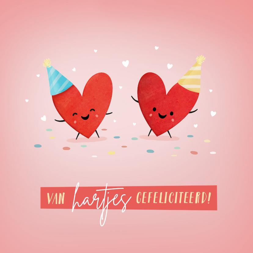 Verjaardagskaarten - Grappige verjaardagskaart van hartjes gefeliciteerd