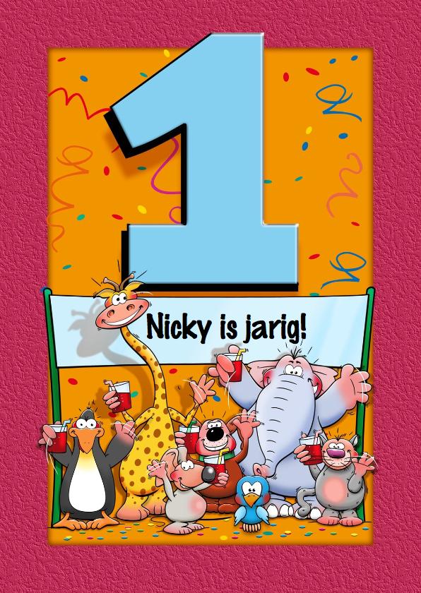 Verjaardagskaarten - Grappige verjaardagskaart voor kind dat 1 jaar wordt
