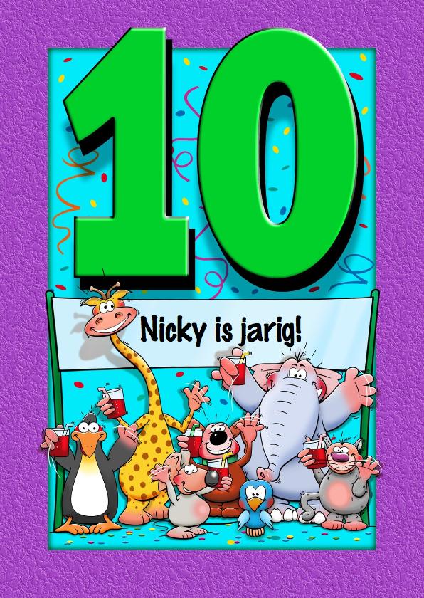 Verjaardagskaarten - Grappige verjaardagskaart voor kind dat 10 jaar wordt