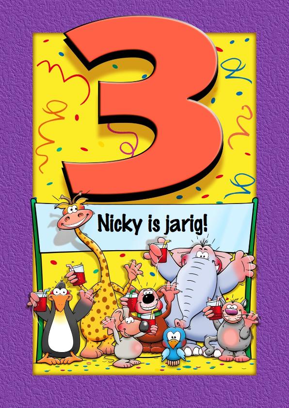 Verjaardagskaarten - Grappige verjaardagskaart voor kind dat 3 jaar wordt