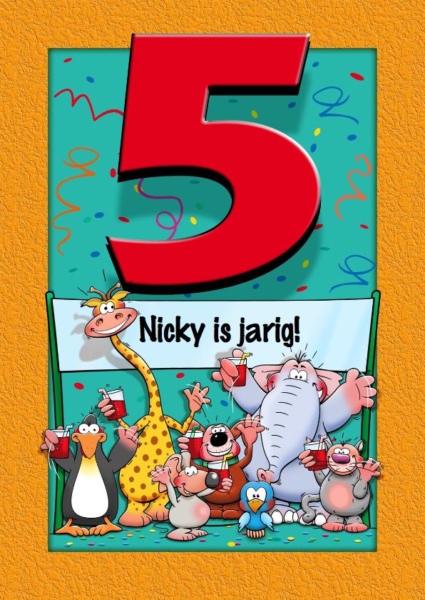 Verjaardagskaarten - Grappige verjaardagskaart voor kind dat 5 jaar wordt