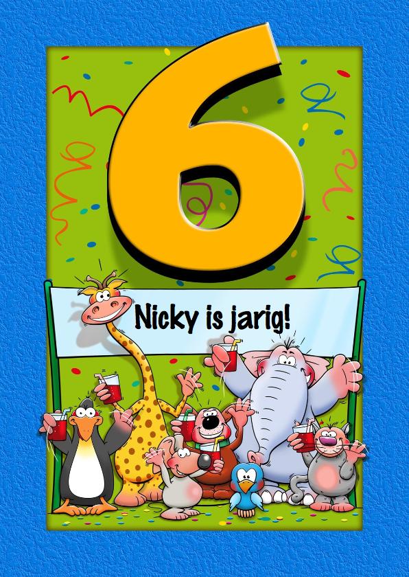 Verjaardagskaarten - Grappige verjaardagskaart voor kind dat 6 jaar wordt