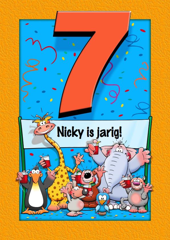 Verjaardagskaarten - Grappige verjaardagskaart voor kind dat 7 jaar wordt