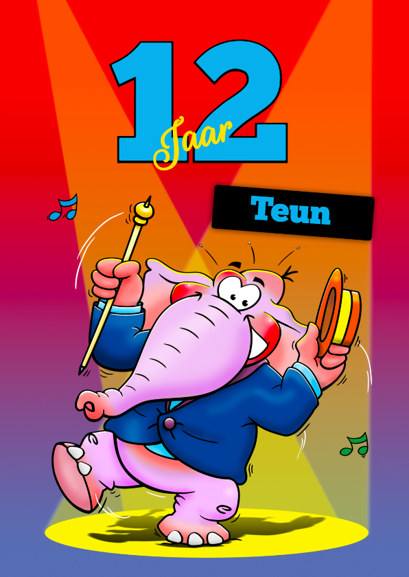 Verjaardagskaarten - Grappige verjaardagskaart voor tiener dansende olifant