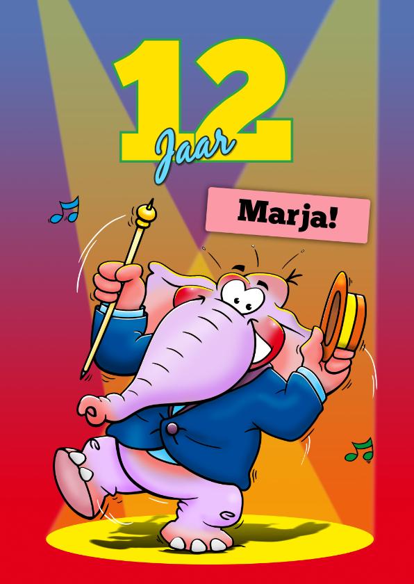 Verjaardagskaarten - Grappige verjaardagskaart voor tiener met dansende olifant