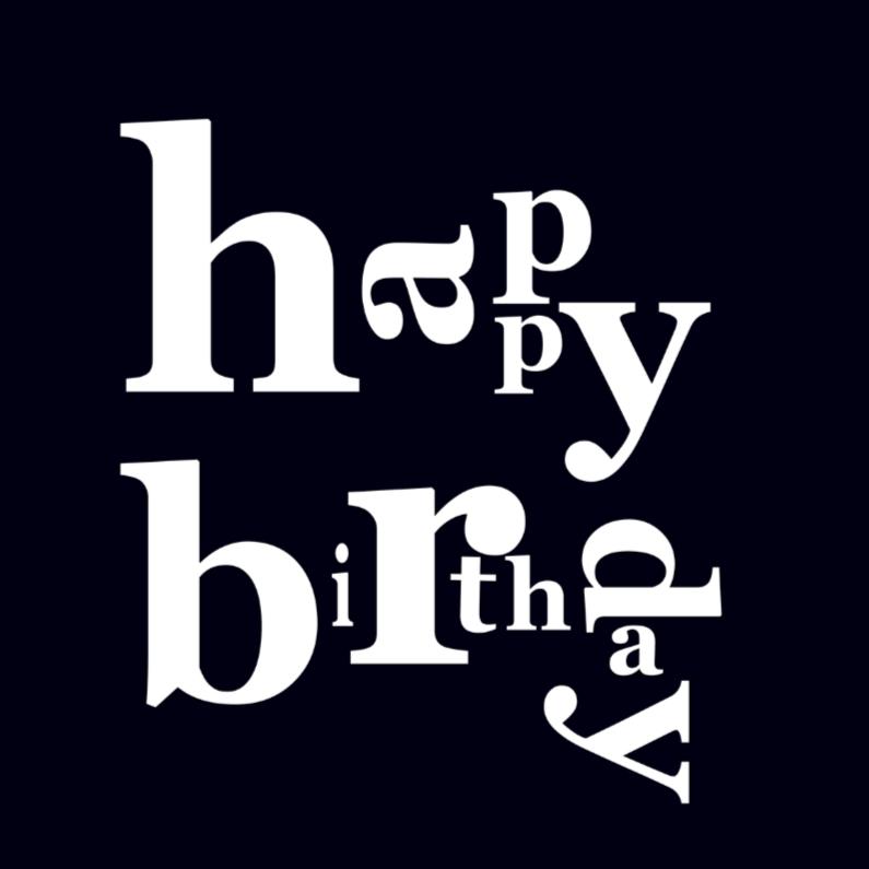 Verjaardagskaarten - happy birthday black