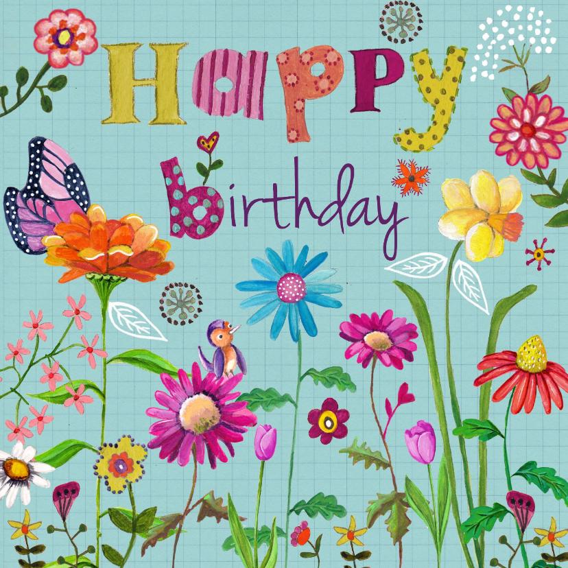 Verjaardagskaarten - Happy Birthday BLOEM Bloemen Vrolijk B