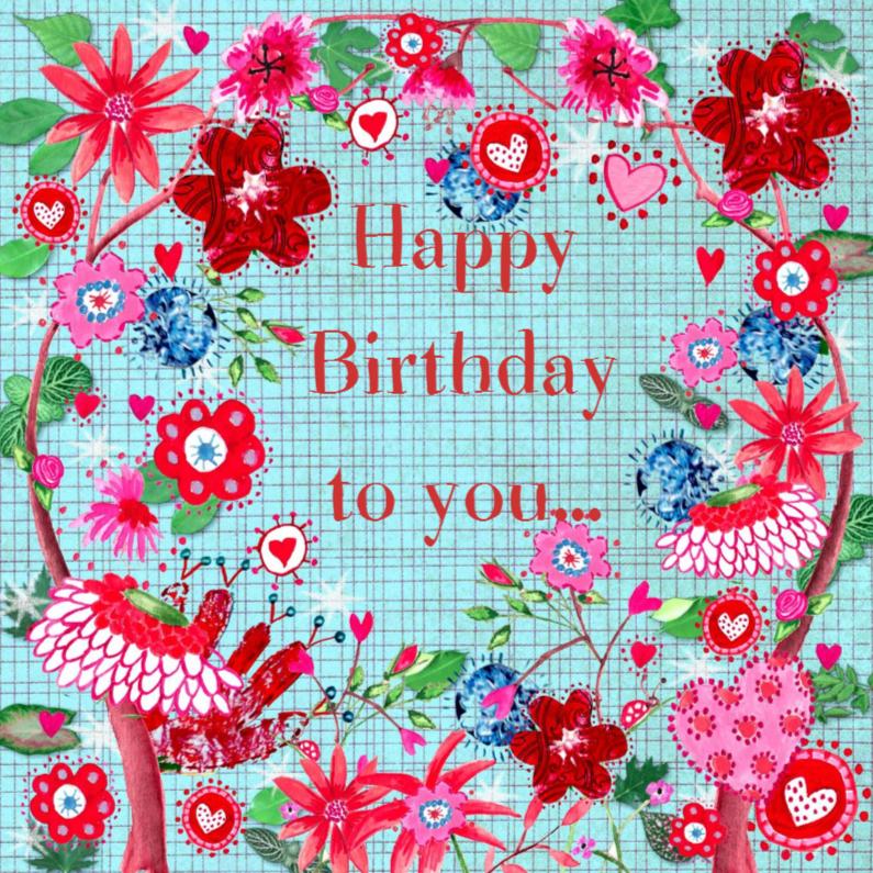 Verjaardagskaarten - Happy Birthday bloem Cartita Design