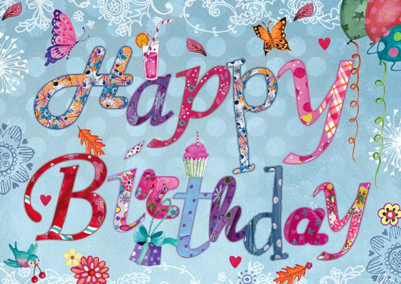 Verjaardagskaarten - Happy Birthday Bloemen Letters