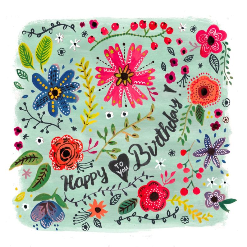 Verjaardagskaarten - Happy Birthday Bloemen Vrolijk