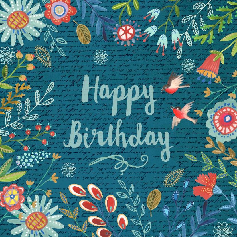 Verjaardagskaarten - Happy Birthday Bloempjes