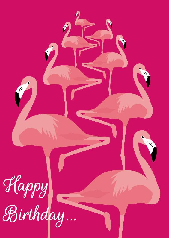 Verjaardagskaarten - Happy birthday flamingo's