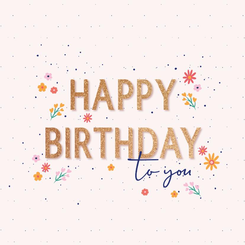 Verjaardagskaarten - Happy Birthday - flowers and dots - felicitatiekaart