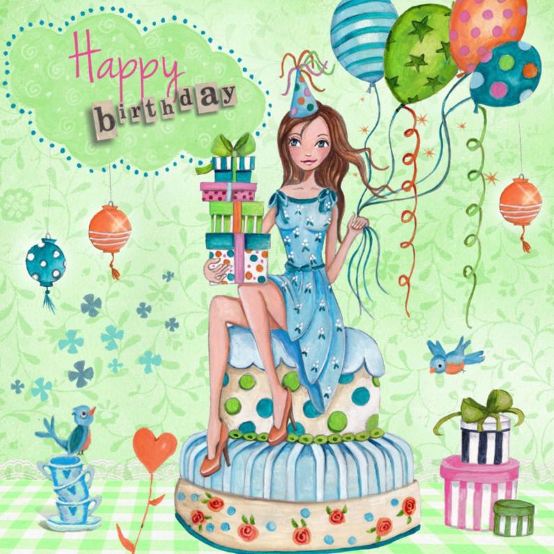 Verjaardagskaarten - Happy Birthday Girl Cake