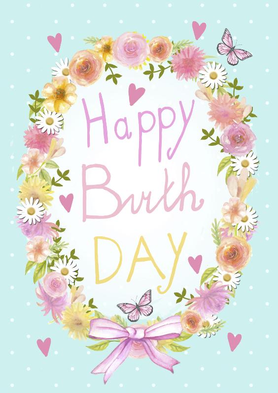 Verjaardagskaarten - happy birthday krans bloemen