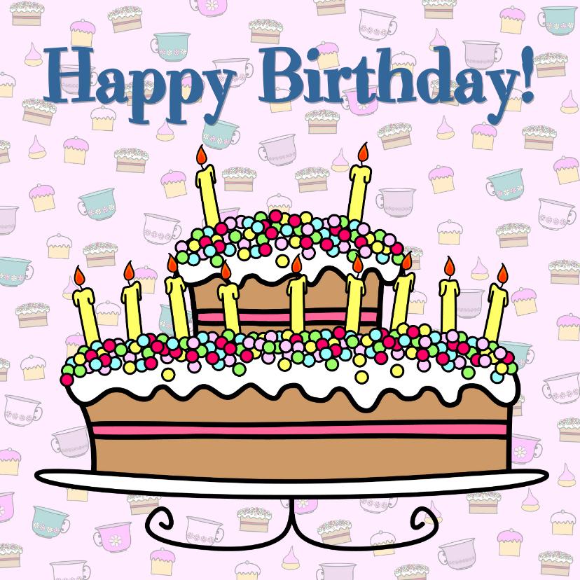 Verjaardagskaarten - Happy Birthday leeftijd TAART