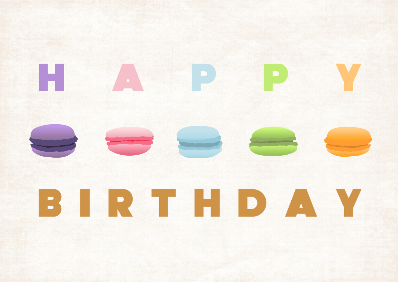 Verjaardagskaarten - Happy birthday Macarons2
