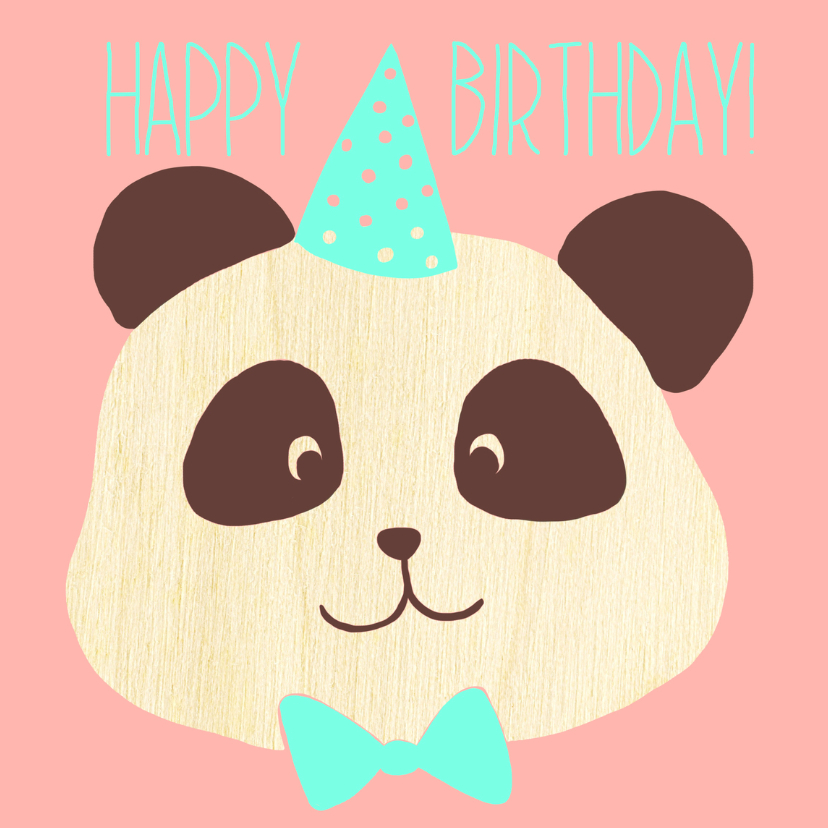 Verjaardagskaarten - happy birthday panda