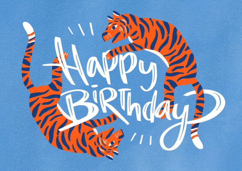 Verjaardagskaarten - Happy Birthday tiger