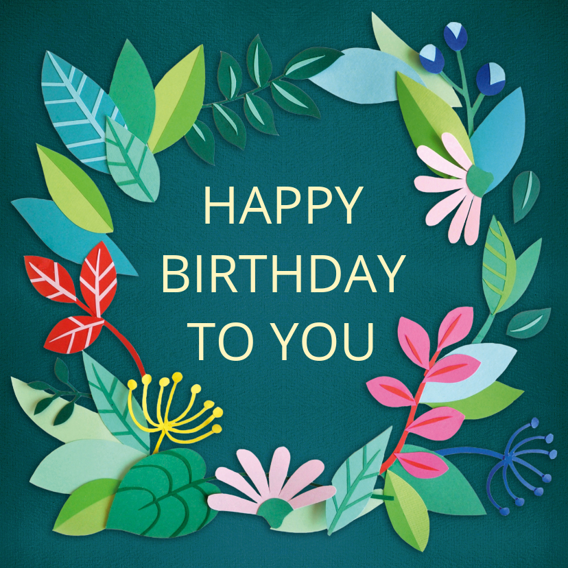 Verjaardagskaarten - Happy birthday to you bloemenrand