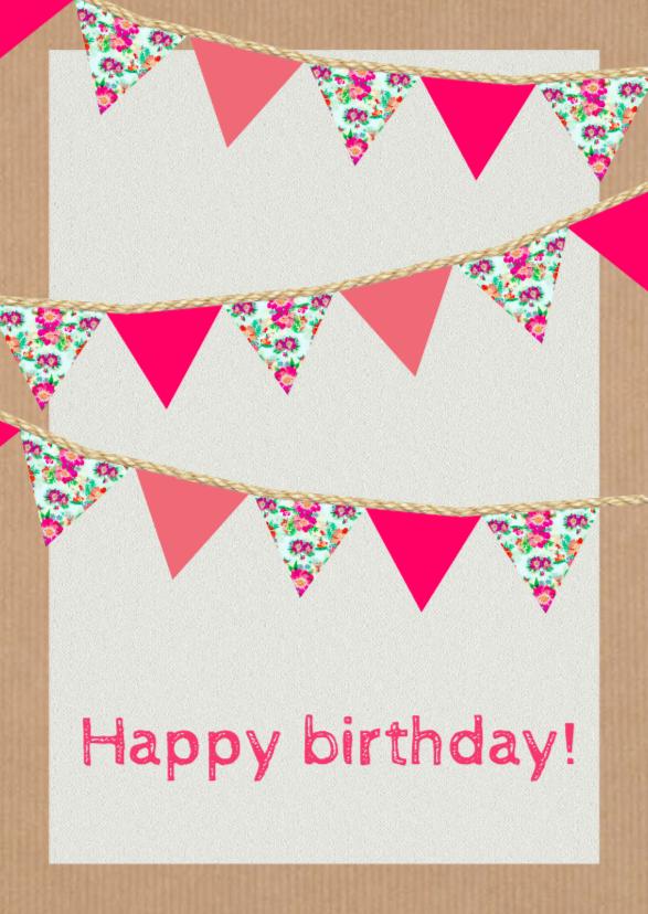 Verjaardagskaarten - Happy birthday vlaggen - DH