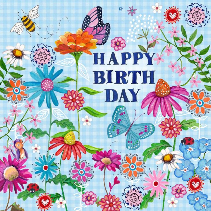 Verjaardagskaarten - Happy Birthday VLINDER Bloemen Vrolijk B