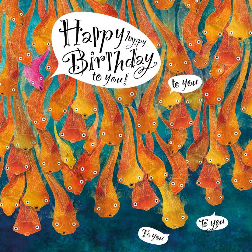Verjaardagskaarten - Heel veel vissen die iemand een fijne verjaardag wensen