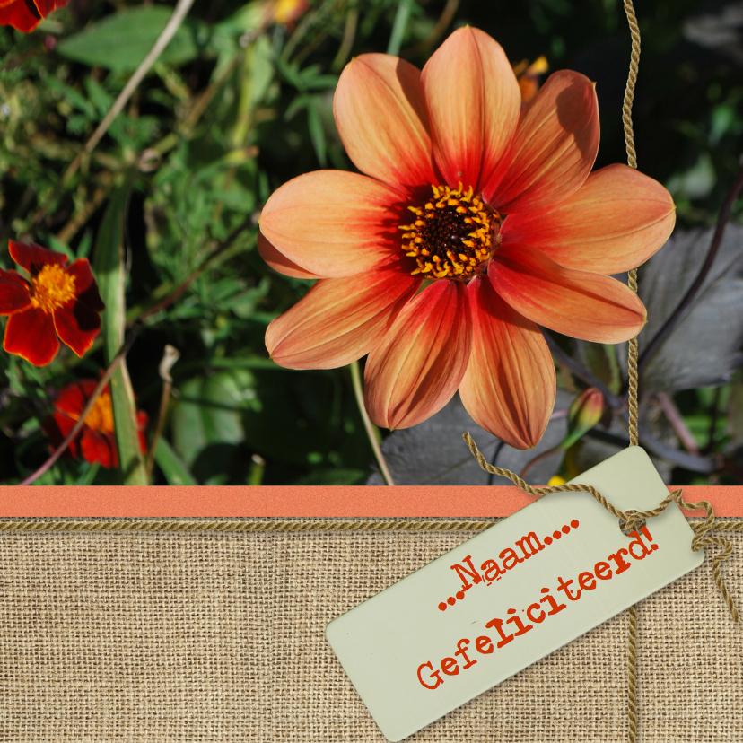 Verjaardagskaarten - Herfst Jute bloemkaart