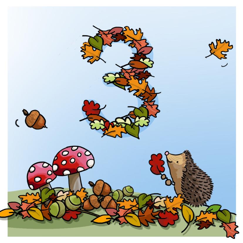 Verjaardagskaarten - Herfst verjaardag 3 Anet Illustraties