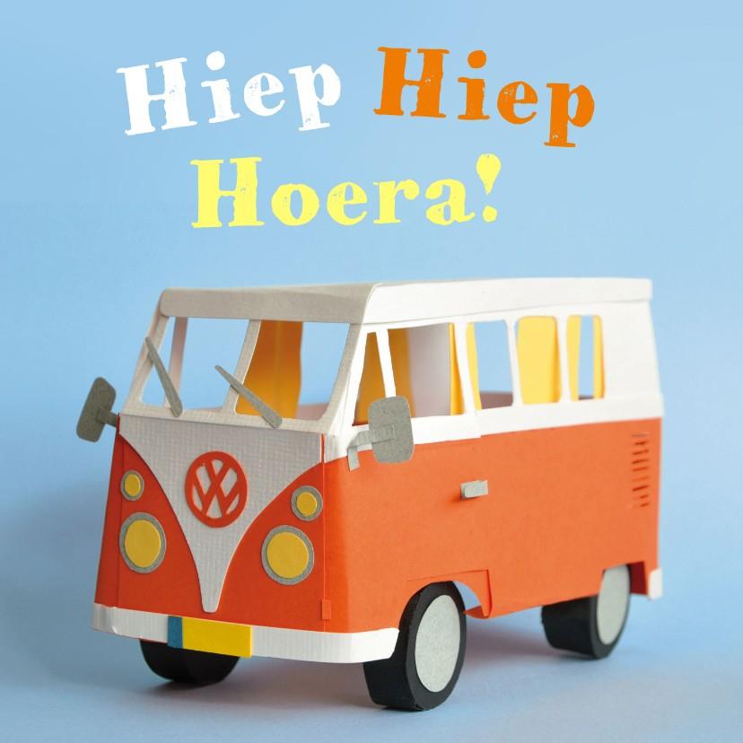 Verjaardagskaarten - Hiep hiep hoera volkswagenbusje