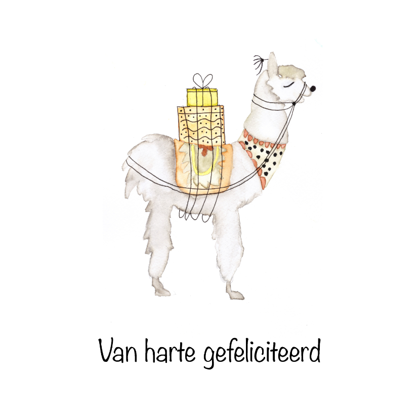 Verjaardagskaarten - Hippe aquarel alpaca verjaardagskaart