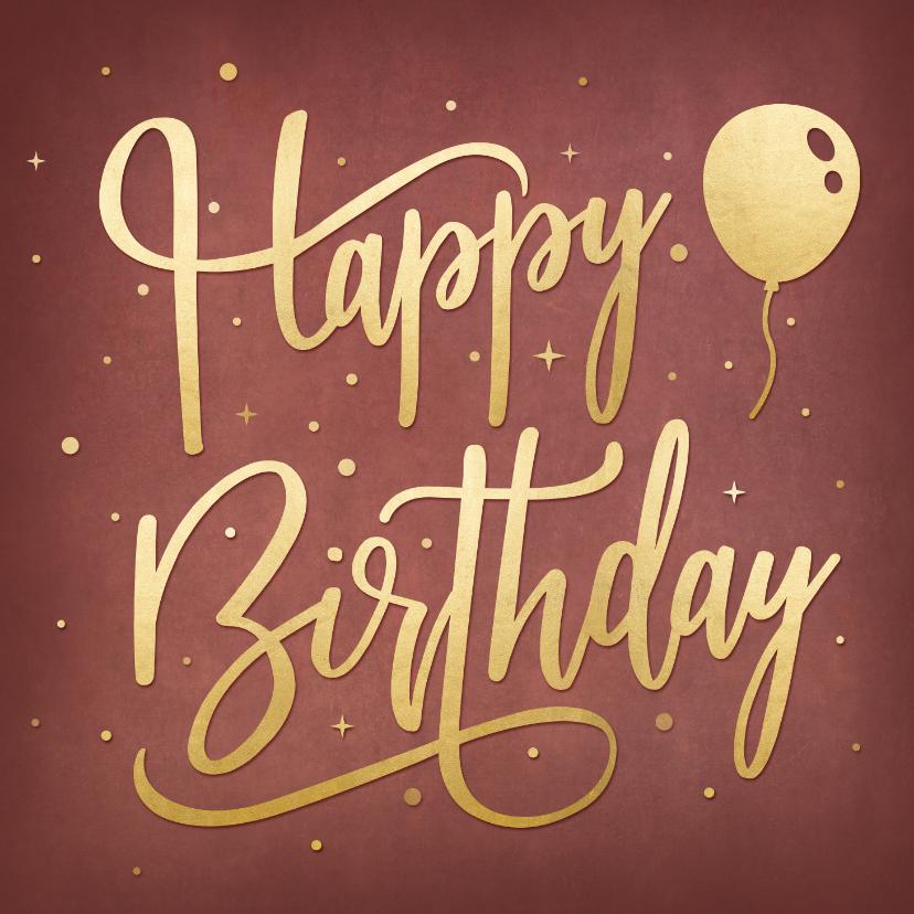 Verjaardagskaarten - Hippe en stijlvolle verjaardagskaart handlettering met goud