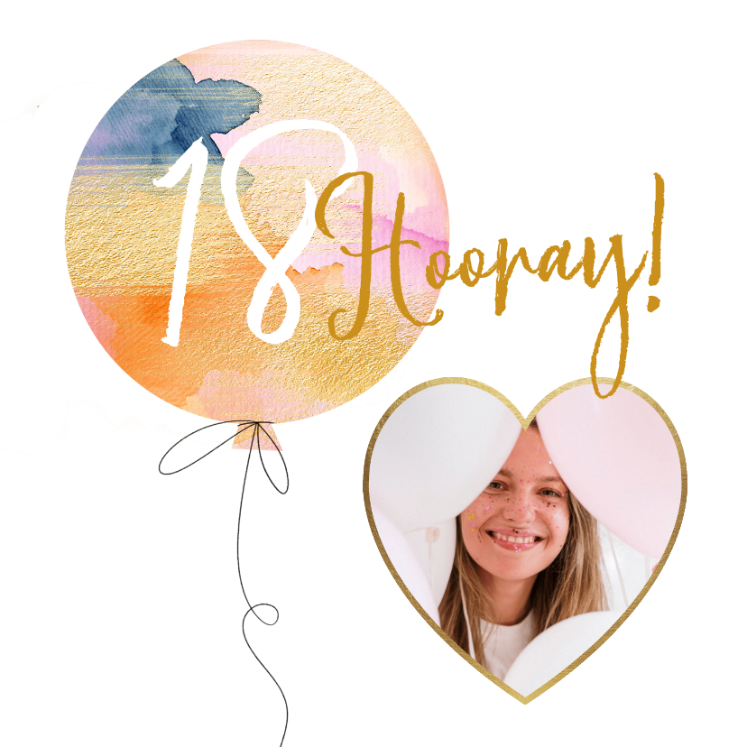 Verjaardagskaarten - Hippe kaart met stijlvolle ballon met goud en hart