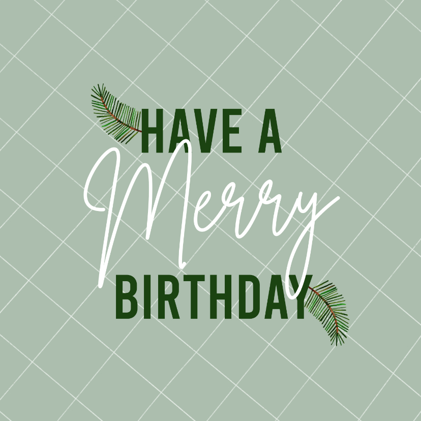 Verjaardagskaarten - Hippe kerst verjaardagskaart merry birthday ruitje takjes