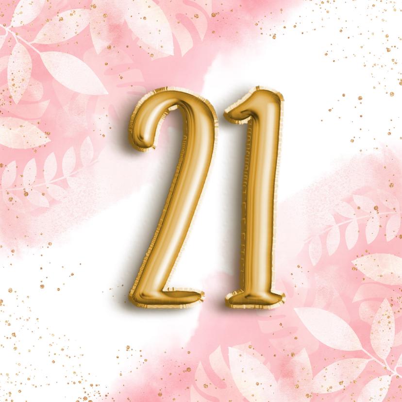 Verjaardagskaarten - Hippe verjaardagskaart 21 botanisch, waterverf & folieballon