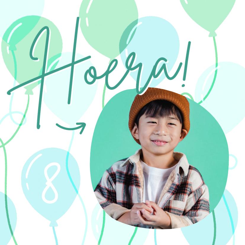Verjaardagskaarten - Hippe verjaardagskaart met foto, leeftijd en ballonnen