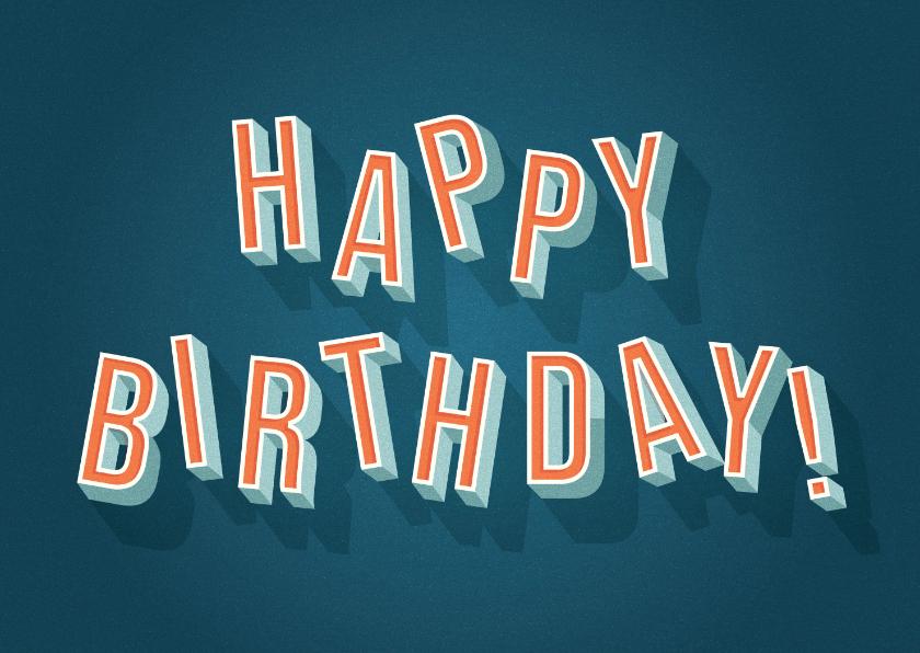 Verjaardagskaarten - Hippe verjaardagskaart retro 'Happy Birthday'