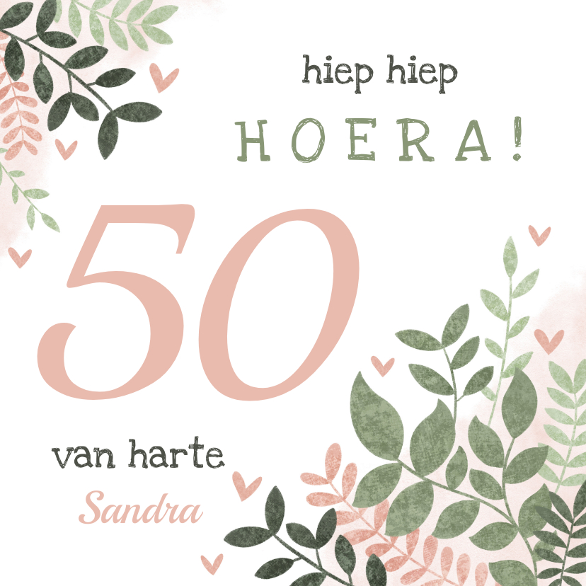 Verjaardagskaarten - Hippe verjaardagskaart vrouw 50 jaar takjes en hartjes