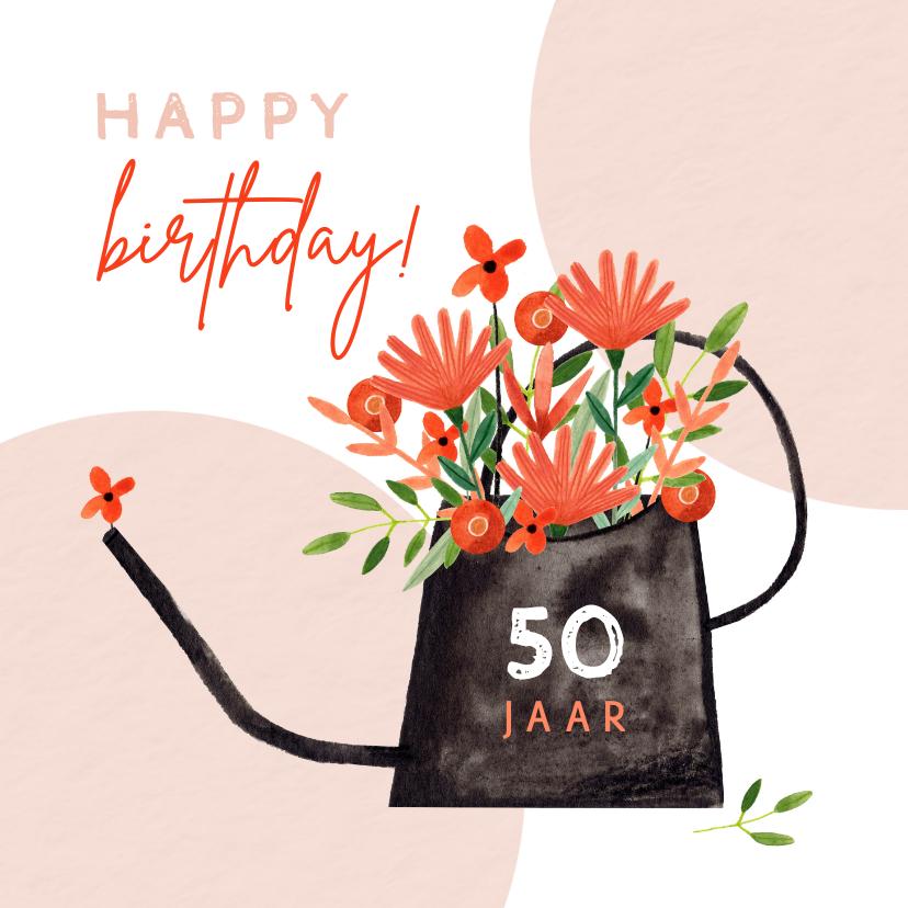 Verjaardagskaarten - Hippe verjaardagskaart vrouw bloemen in gieter rood jaartal