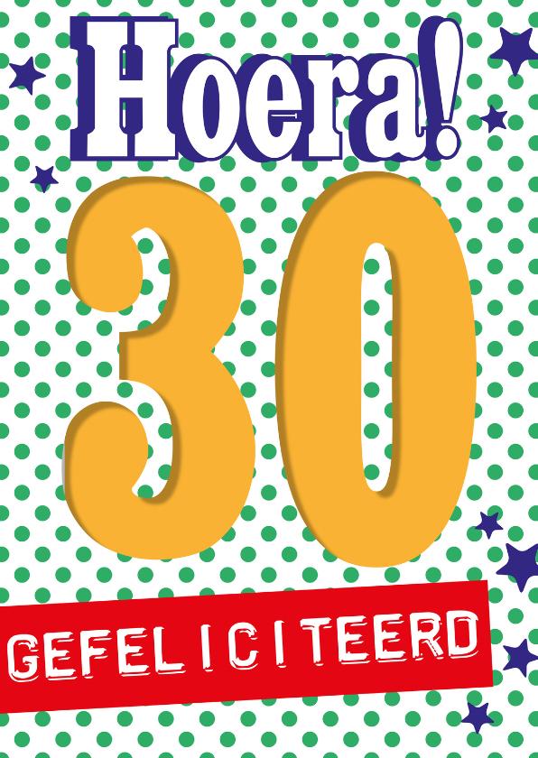 Verjaardagskaarten - Hoera 30 jaar gefeliciteerd -BF