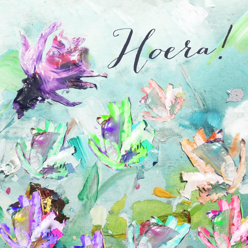 Verjaardagskaarten - Hoera geschilderde bloemen