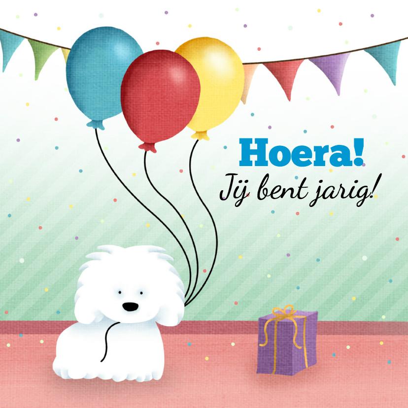 Verjaardagskaarten - Hondje en ballonnen en slingers