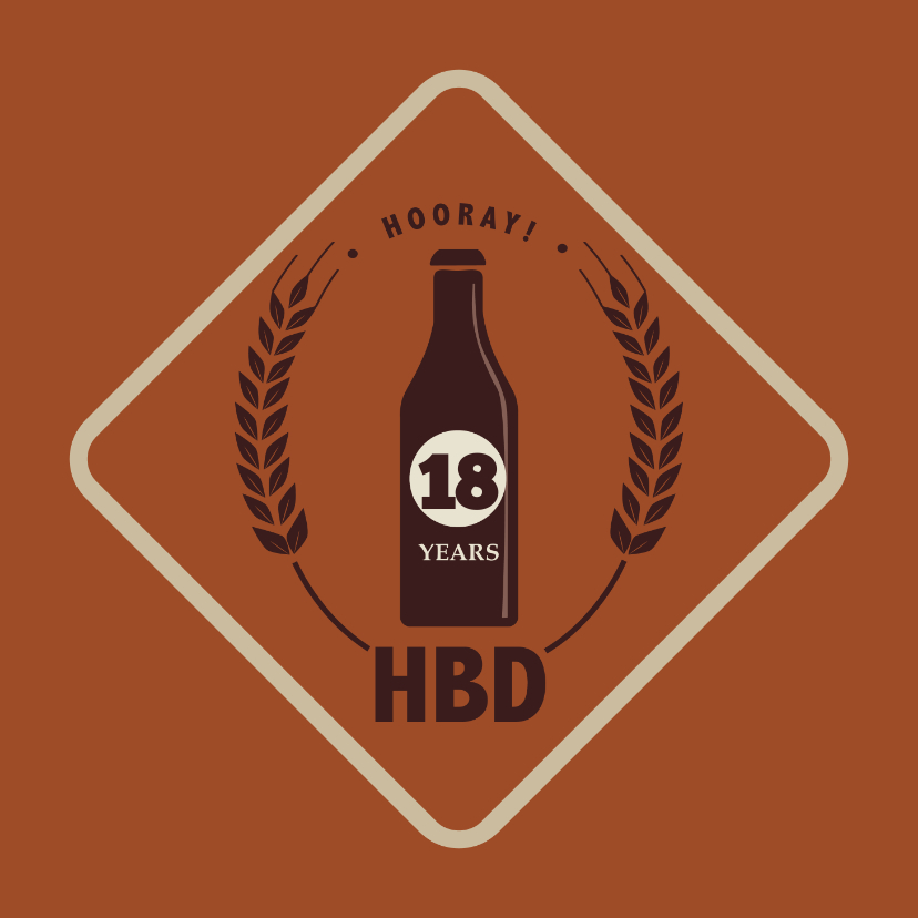Verjaardagskaarten - Hooray HBD - retro - verjaardagskaart