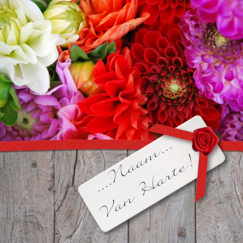 Verjaardagskaarten - Hout lint en bloemen