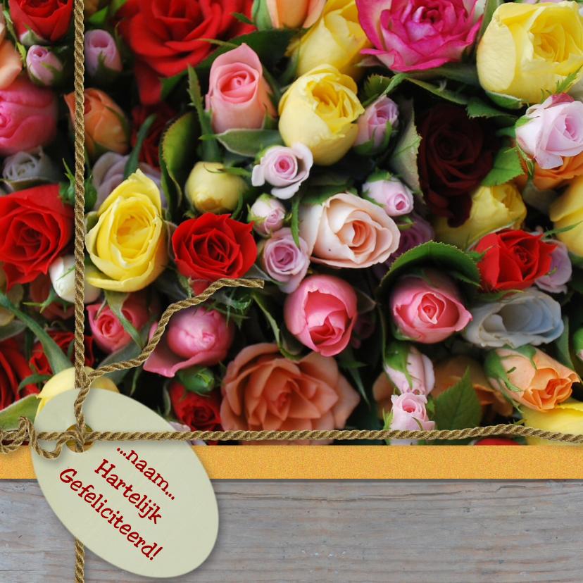 Verjaardagskaarten - Italiaanse rozen hout label lint