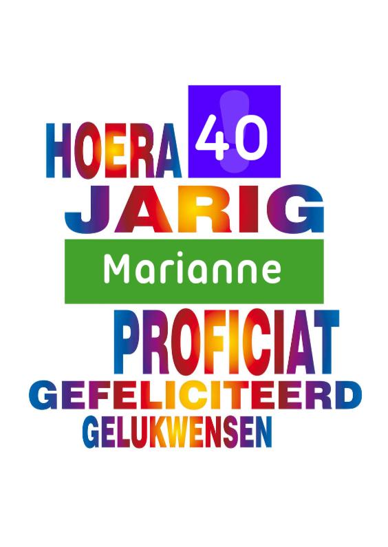 Verjaardagskaarten - jarig 31 - 40 regenboog