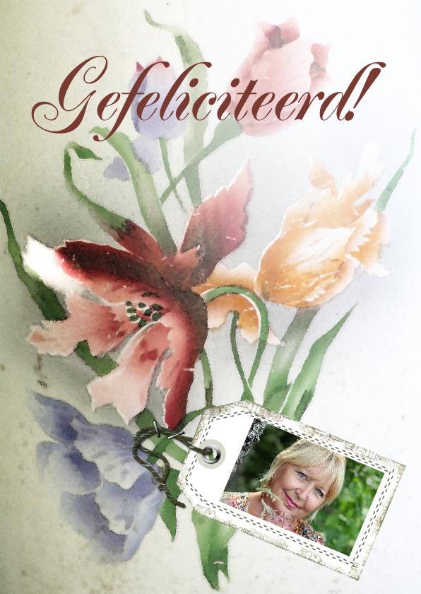 Verjaardagskaarten - Jarig bloemen en naamkaartje b
