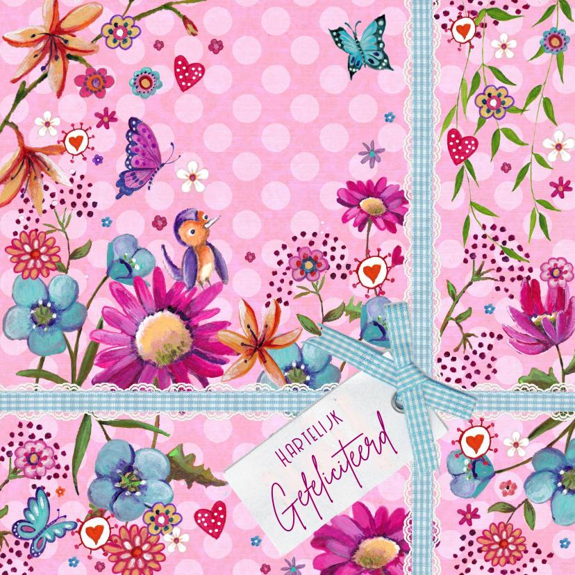 Verjaardagskaarten - Jarig Bloemen Kado Vrolijk Stip Roze